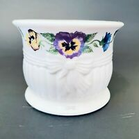 Belleek, Ireland Enchanted Garden porcelain pillar candle holder, pansy design