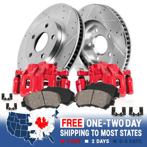 Front Red Brake Calipers Rotors & Pads For 2007 2008 2009 - 2013 JEEP WRANGLER