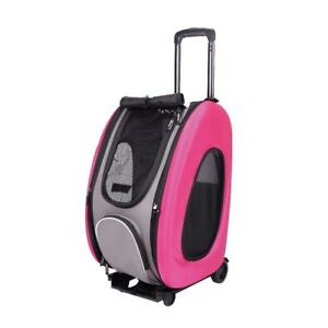 Pet Carrier Bag Ibiyaya Pet Cart Carrier Adjustable EVA 4-in-1 Combo Hot Pink