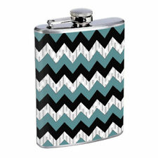 Popular Chevron Pattern D10 Flask 8oz Stainless Steel Hip Drinking Whiskey