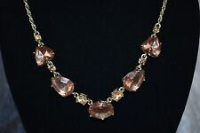 Goldtone Brown Heart-Shaped Crystal Accent Collar Necklace by AVON ~ FREE SHIP!