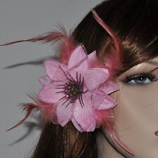 Flower Light Pink Bloom Hair Clip Glitter Feather Decoration