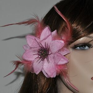 Blume hell ROSA Blüte Haarclip Haarspange Haarklammer Glitzer Federn Haarschmuck