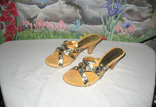 New BEVERLY FELDMAN Gold Leather w Crystals Sandals 9