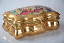 Porzellan Deckeldose Dose Schatulle Schmuckkästschen handbemalt vergoldet