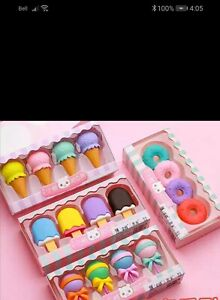 Very cute novelty eraser sets! Dessert sets! Candies to your eyes!