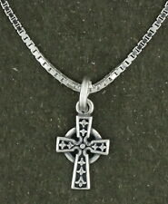 Celtic Cross Pendant Necklace Sterling Silver Religious 18 Inch Box Chain