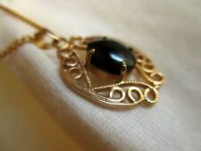 "Vtg 70s 16"" Simple Black Stone Goldtone Pendant Skinny Chain Necklace"