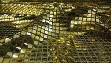 % GOLD/SCHWARZ METALL PAILLETTEN STOFF QUADRAT 8MM STOFFE METERWARE |BIF2