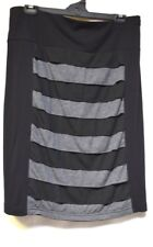 plus sz XL / 24 TS TAKING SHAPE Tiered Skirt soft stretch black/marle stripe NWT