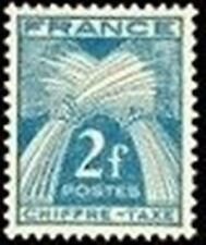 """FRANCE STAMP TIMBRE TAXE N° 72 """" TYPE GERBES 2F BLEU-VERT """" NEUF xx TTB"""