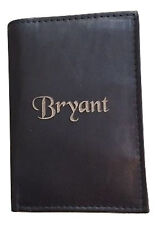 Personalized Leather Wallet Black Trifold Wallet Groomsman Fathers Day Gift