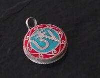 925er Silber Anhänger Amulett Mantra Türkis Koralle Nepal Tibet