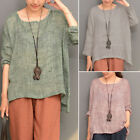 ZANZEA Women Long Sleeve Oversize Vintage Casual Blouse Tops Asymmetrical Shirt