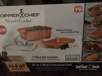 Copper Chef Wonder Cooker XL Professional 10.5 QT 3 Piece set Roaster Pan Grill