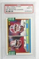 1990 Topps Tiffany NFL Receiving Leaders Jerry Rice Andre Reed #431 PSA 9 Mint