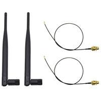 2x 6dBi 2.4GHz 5GHz Dual Band WiFi RP-SMA Antenna + 2x 35cm U.fl/IPEX Cable Z9I5