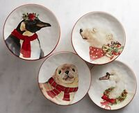"4x Pier 1 Christmas Winter's Critters Salad Dessert Accent Plates 8.2"" GIFT BOX"
