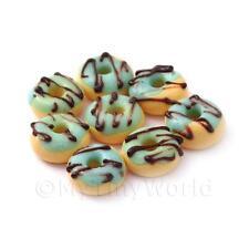 7x Puppenhaus Miniatur Blau glasierte Schokolade Donuts