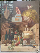 Dipinto olio su tela interno di cucina dispensa - Ferdinand Bassot - 1863
