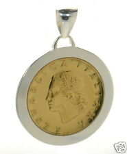 Italian Lira Coin Set in Solid 925 Sterling Silver Pendant - 1976 '