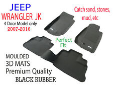 To suit Jeep Wrangler JK 2007 to 2016 4 door Black Rubber 3D Car Floor Mats