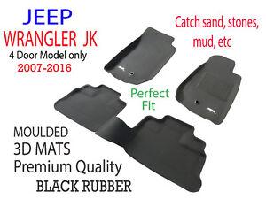 Fits Jeep Wrangler JK 2007 - 2016 4dr Genuine 3D Black Rubber Car Floor Mats