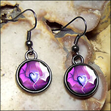 Small Purple Dragon Wing Heart Fantasy Gunmetal Black Sci-fi Love Glass Earrings