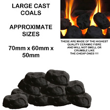 20**** NEW Gas Fire Replacement Coals Ceramic Oval Roundish Black Coal rcf CAST