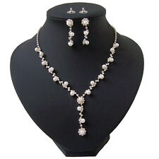 Perlencollier Kette Ohrringe silber plattiert Perlen weiß Schmuck Braut S1455