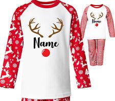 Personalised Christmas Pyjamas Childrens Reindeer Red Pjs Kids Xmas Eve Gift