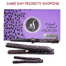 Herstyler Animal Set Purple Leopard 3 Piece Curling Iron Flat Hair Straightener