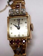 Vintage Ladies Paul Breguette 14K Solid Gold 17 Jewel Diamond&Rubies Wrist Watch