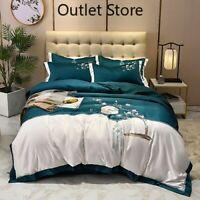 Luxury Chinese Flowers Embroidery Satin Silk Cotton Bedding Set Cover Set Bed