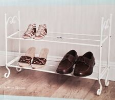 G-0082 Shabby Chic Vintage Style Cream 2 Tier Metal Shoe Rack Storage
