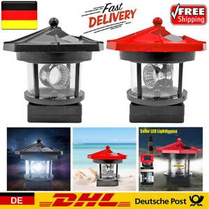 Leuchtturm Solar LED Licht Garten Zaun Außen Beacon Rotierende Beam Lampe DE