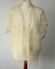 Topshop Cream Floral Lace Kimono Jacket Fringed Festival Boho Hippy UK 8-12 S/M