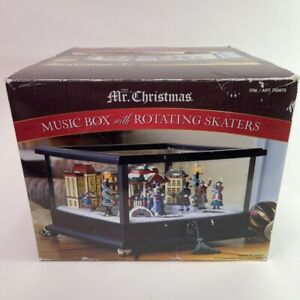 Mr. Christmas Animated Music Box with Rotating Skaters Wooden Illuminated Glass