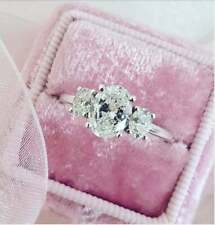 Ring 14k White Gold Ebay All size Art Deco 2.82 Ct Oval Cut Diamond Engagement
