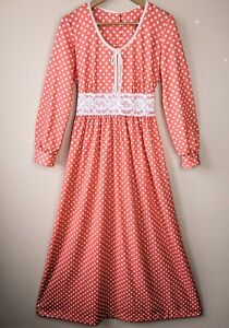 70s Vintage Prairie Maxi Dress 12 10-12 Spotty Cottagecore Country Chic