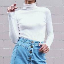 Women Long Sleeve Turtleneck Casual Slim Tops Knit Sweater Winter Blouse