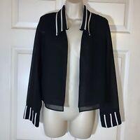 Joseph Ribkoff Women's Black Sheer Open Front Dress  Jacket  Size 10