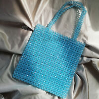 Vintage Ladies Weave Crystal Vacation Clutch Bag Blue Beaded Bag Womens Handbag