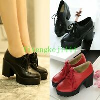 Vintage Womens Gothic Platform Mary Jane Chunky High Heel Lace Up Oxford Shoes Y