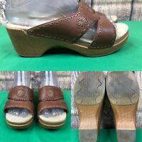 Womens DANSKO 'Sunny' Brown Leather Wood Wedge Sandals Slides SIZE 37 US 6.5-7