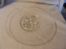 Glass Round Cake or Dessert Cake Stand with Embossed Flower in Center