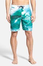 Surfside Supply Photorealistic Wave Print Blue Swim Trunks Men's Swimsuit Medium