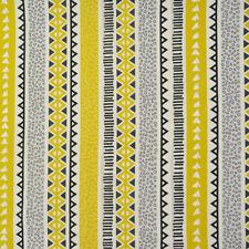 Tessuto Cotone Stampa Digitale Geometrica Africano Grigio Giallo Bianco 1,4m