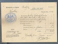 "s713 MEXICO Old Document ""Recaudación de Rentas"" Tendajon / Zacatlan Puebla 1915"