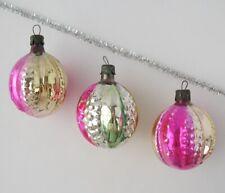 Set 3 Lantern Ball Vintage Xmas Decor Christmas Russian Glass Pink Ornament Ussr
